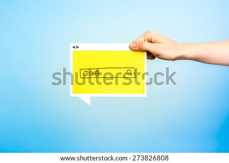 Hand showing/holding a banner with job word on search box concept. - stock photo