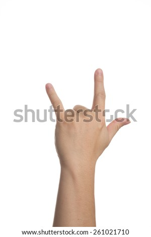 Hand showing love sign isolated on white - stock photo