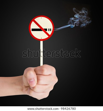 Hand Showing No Smoking sign - stock photo