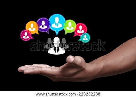 Hand showing social media icon - stock photo