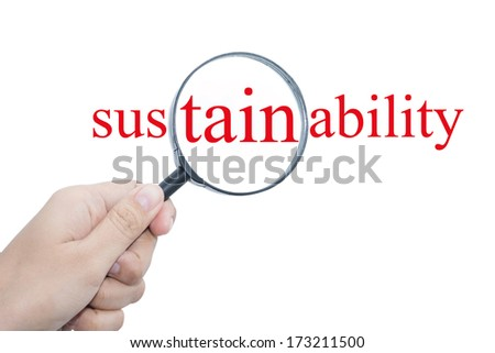 Hand Showing sustainability Word Through Magnifying Glass  - stock photo