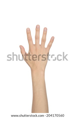 hand showing the five fingers isolated on a white