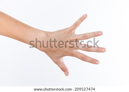 hand showing the five fingers isolated on a white - stock photo