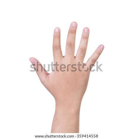 hand showing the five fingers isolated on a white background
