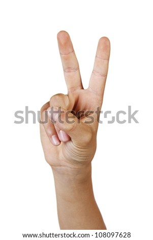 Hand showing the sign of victory and peace closeup isolated on white background. - stock photo