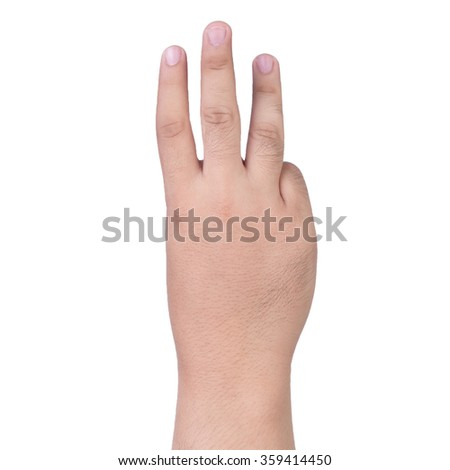 hand showing the therr fingers isolated on a white background - stock photo