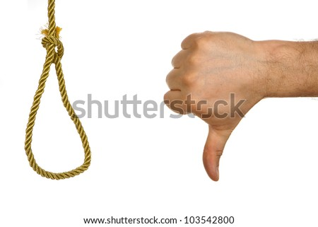 Hand showing thumb down to hangman knot. Concept against death  punishment - stock photo