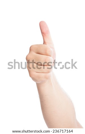 Hand showing Thumb Up isolated on white background - stock photo