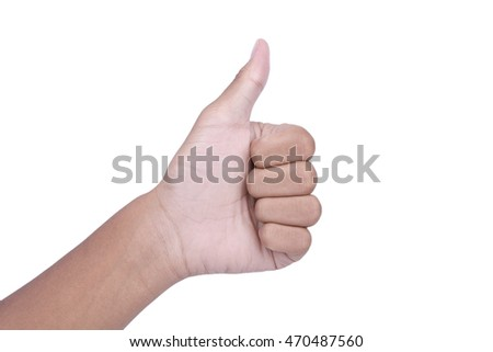 hand showing thumbs up isolated on white background