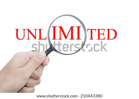 Hand Showing UNLIMITED Word Through Magnifying Glass