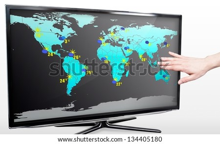 Hand showing weather forecast on modern TV screen