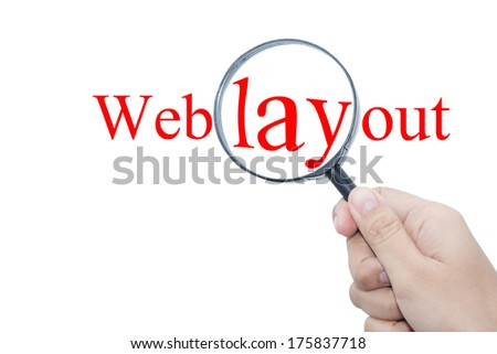 Hand Showing Web layout Magnifying Glass - stock photo