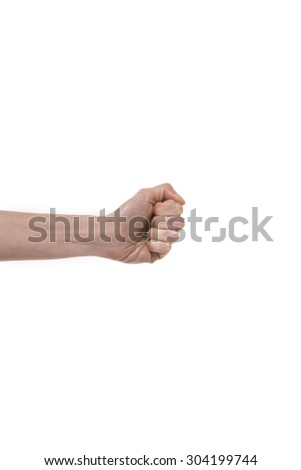 Hand sign. Fist punching the air. Studio shot isolated on white background
