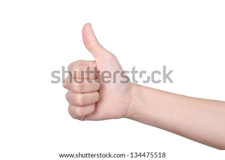 "hand sign ""good""  isolated on white background"