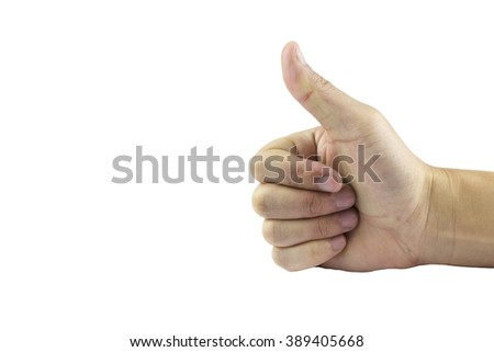 Hand sign language for communication isolated on whited