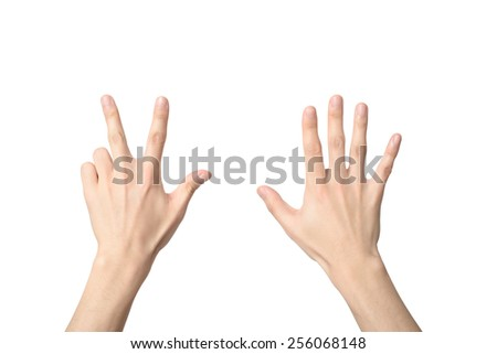 hand sign of number eight, isolated on white - stock photo