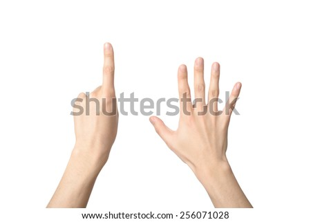 hand sign of number six, isolated on white