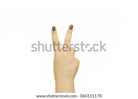 hand sign of number two - stock photo