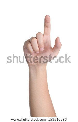 hand sign posture click in isolated