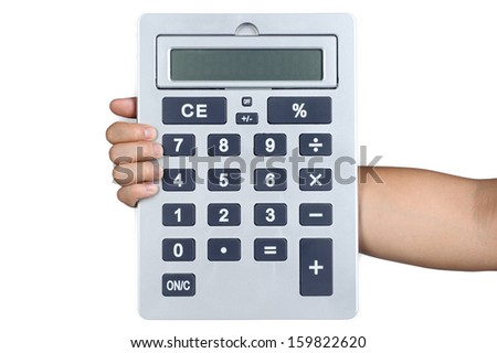 hand sign posture hold Calculator in isolated