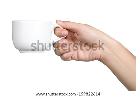 hand sign posture hold coffee cup in isolated - stock photo