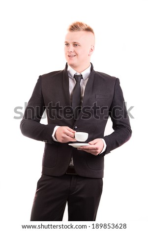 hand sign posture hold coffee cup in isolated