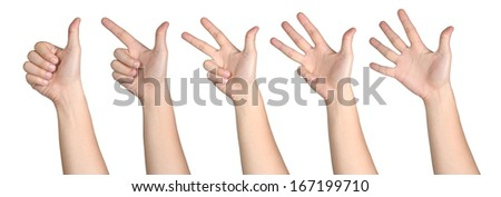 hand sign posture number 1-5 - stock photo