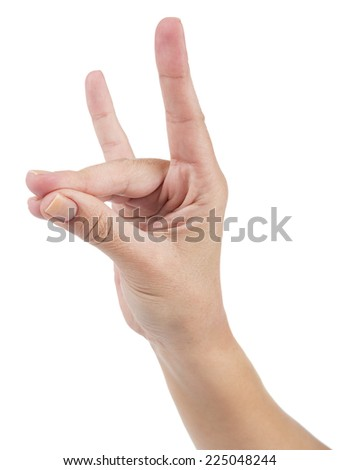 Hand signal of Turkish nationalists called bozkurt selami isolated on white background.