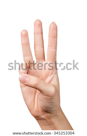 Hand signal. Three fingers. Isolated on white - stock photo