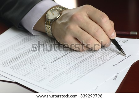 hand signed insurance - stock photo