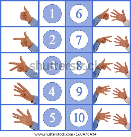 Hand signs counting up from one to ten in sign language - stock photo