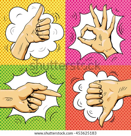 Hand signs in retro pop art style. Cartoon comic set. Pointing finger, ok sign, thumb up, thumb down. Like and dislike hand signs.