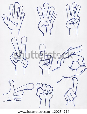 Hand sketches drawn in blue ink on white paper