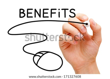 Hand sketching Benefits concept with black marker on transparent wipe board.