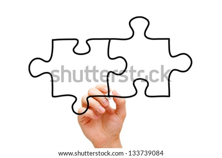 Hand sketching Blank Puzzle with black marker on transparent wipe board. - stock photo