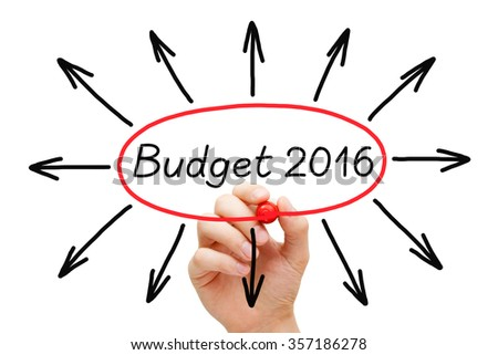 Hand sketching Budget year 2016 concept with marker on transparent wipe board.  - stock photo