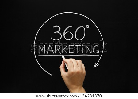 Hand sketching 360 degrees Marketing concept with white chalk on a blackboard. - stock photo
