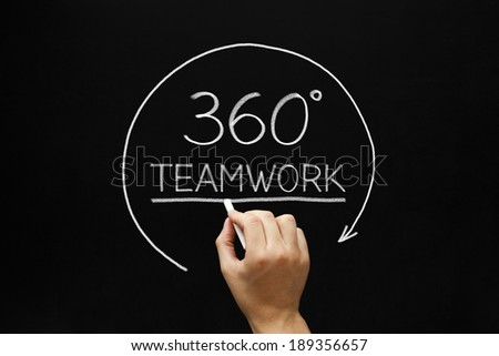 Hand sketching 360 degrees Teamwork concept with white chalk on a blackboard.