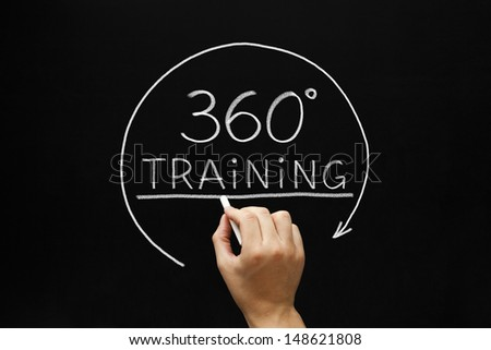 Hand sketching 360 degrees Training concept with white chalk on a blackboard.  - stock photo