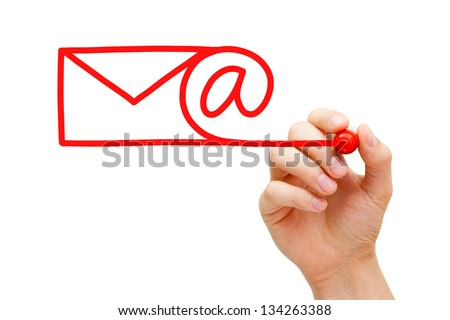 Hand sketching Email Concept with red marker on transparent wipe board. - stock photo