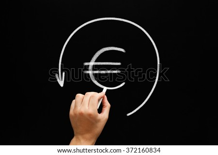 Hand sketching Euro sign in arrow circle with white chalk on blackboard. Refund concept.