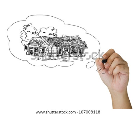 Hand sketching house in the bubble - stock photo