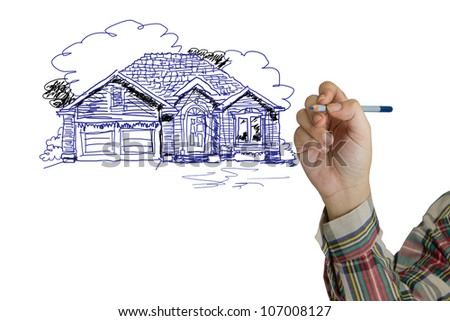 Hand sketching house on white background