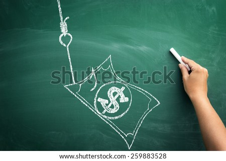 hand sketching on blackboard hook and banknote dollar, business concept fishing money - stock photo