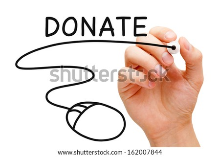 Hand sketching Online Donation Concept with black marker on transparent wipe board. - stock photo