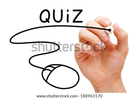 Hand sketching online Quiz concept with black marker on transparent wipe board. - stock photo