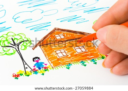 Hand sketching picture, abstract art background - stock photo