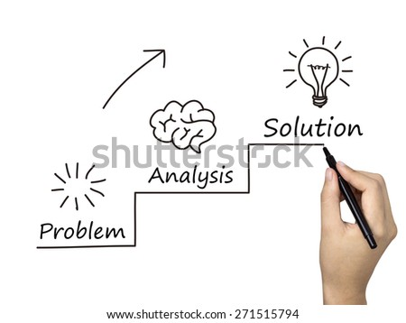 hand sketching the idea creation process in steps - stock photo