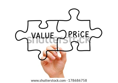 Hand sketching Value Price puzzle concept with black marker on transparent wipe board. - stock photo