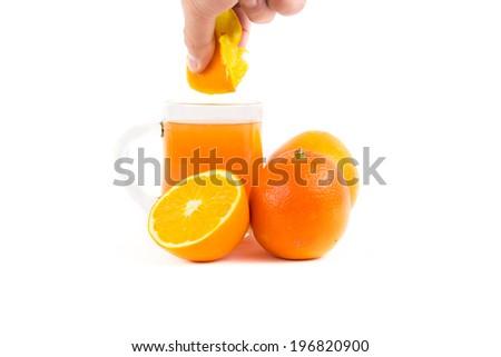Hand-squeezed   Mandarin orange juice - stock photo